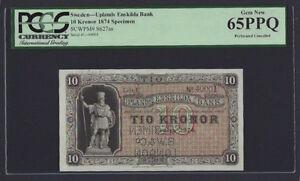 Sweden Upland Enskilda Bank,10 Kronor 1874 P627as Litt U Specimen Uncirculated