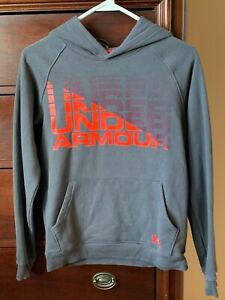 Under Armour Youth Boy's Hoodie Size Large ~ 100% Cotton ~ Gray/Orange