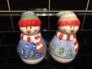 Festive Snowman Ceramic Novelty Salt & Pepper Shakers Pots Christmas Kitchenalia