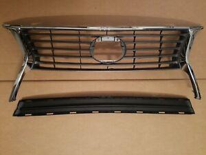 2PC Set 2013-2015 LEXUS RX350 Front Bumper Upper Grille & Center Molding NEW