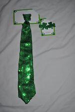 St Particks Day Pair Green Shamrock pierced earrings + sequined Necktie New!
