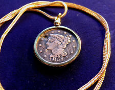 "1851 US Braided Hair Liberty Cent Pendant on a 28"" 14K Gold Filled Foxtail Chain"