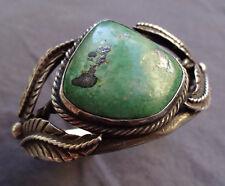 Elegant Signed Vintage NAVAJO Sterling Silver & AJAX Turquoise Cuff BRACELET