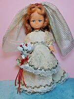 "Vintage Hard Plastic 12"" Doll with Lace Wedding Dress Movable Arms, Legs & Head"