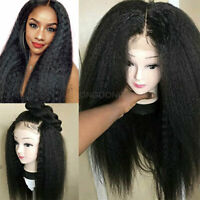 Kinky Straight Italian Human Hair Wig Lace Front Full Wigs Pre Plucked Hairline