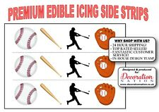 Baseball Mix ICING SIDE STRIP Edible Cake Decoration Sports Bat Player Team
