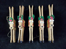 Lot Of 5 Handmade Wood Clothespins Reindeer Christmas Ornaments