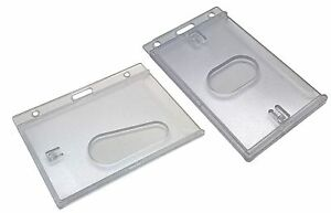 ID Card Holder Rigid Enclosed Plastic Case, Thumbhole Pick Landscape or Portrait