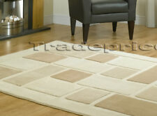 NEW LARGE THICK BEIGE CREAM CONTEMPORARY MODERN BLOCKS RUG 120x170cm