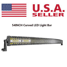54Inch Curved LED Light Bar Flood Spot Combo Offroad Lamp SUV 4WD UTV 4Row+3Row