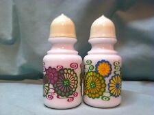 Retro Avon Flower Power Salt & Pepper Shakers 1 Purple 1 Yellow Flowers NICE