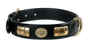 STAFFY STAFFORDSHIRE LEATHER DOG FACE COLLAR BLACK COLOUR WITH BRASS FITTING
