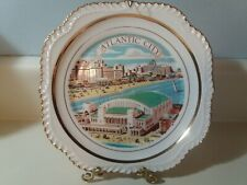 Atlantic City New Jersey Decorative Souvenir Collectible Plate Gold Accent Rim