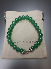 "Green Onyx Spiritual Beads Bracelet 8.5"" New listing David Yurman Men Sterling Silver 8Mm"