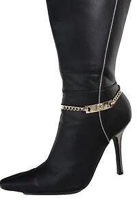 Women Gold Metal Chain Boot Bracelet High Heel Shoe Charm Bling Number # 23 Mini