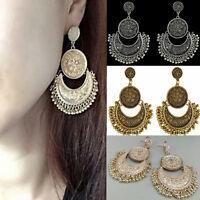Women Fashion Boho Jewelry Ethnic Tassel Coin Drop Dangle Vintage Earrings Gift