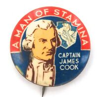 .VINTAGE MEN OF STAMINA TIN BUTTON / BADGE. CAPTAIN JAMES COOK.