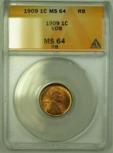 1909 VDB Lincoln Wheat Cent 1c ANACS MS-64 RB (A) (WW)