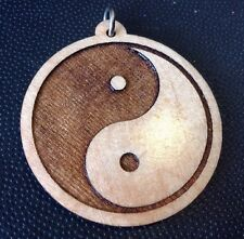 "Yin Yang Necklace Balance Laser carved Maple wood Medallion 1.75"" Pendant #gift"