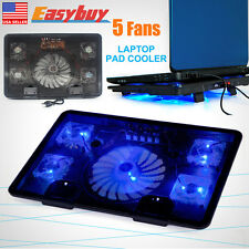 """12""""-17"""" Laptop PC USB Cooling Cooler Adajustable Stand Pad 5 Fans LED Radiator #"""