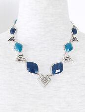 Lucky Brand Teal Semi-Precious Stone Tribal Silver-Tone Collar Necklace $65 NEW