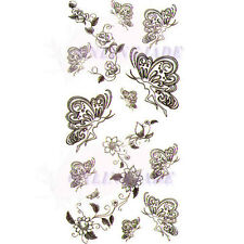 Temporary Tattoo Transfer Removable Arm Body Sexy Black Flower Butterfly X041