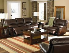 Clifford Brown Leather Double Reclining Sofa & Loveseat 2Pc Sofa Set Living Room
