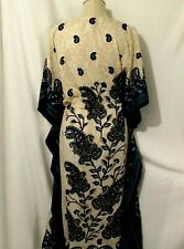 CALIFORNIA BREEZE  KIMONO LONG Beige Blue multicolor DRESS FREE  SIZE (A10))