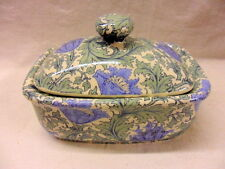 William Morris vintage anemone design butterdish by Heron Cross Pottery