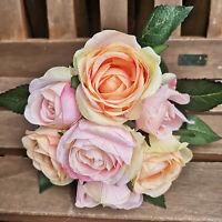 Englische Rosen Rosa Apricot Rosenstrauß Rosen Seidenblumen Kunstblumen Rose