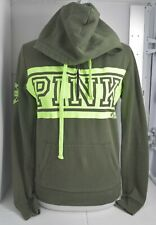 Woman's VICTORIA'S SECRET PINK Green 1/2 Zip Up Long Sleeve Size Extra Small XS