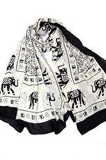 B63 Elephant Print Large Black & Off White Scarf Wrap Shawl Boutique $110