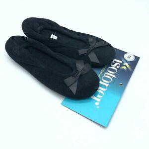 Isotoner Womens Slippers Ballet Flat Slip On Fleece Bow Black Size L 8-9