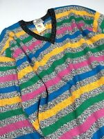 GIANNI VERSACE VINTAGE '95 V-NECK STRIPED SWEATER MEN KNIT MULTI COLOR ITALY