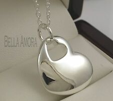 "Pretty 925 Silver Plt Solid Heart Pendant with 18"" Chain Necklace - New -93"