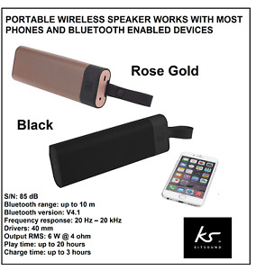 KitSound BOOMBAR+ Portable Universal Wireless Speaker - Black or Rose Gold