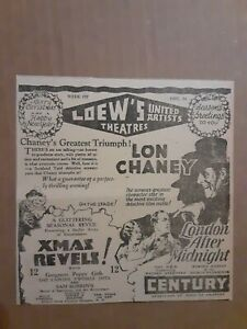 1927 London After Midnight Movie Newspaper Ad Lon Chaney