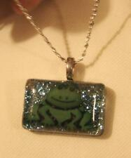 Frog Silvertone Pendant Necklace + Cute! Rectangular Green Glittery Acrylic