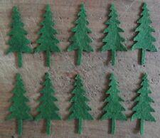 pRiMiTiVe Wool Felt Die Cut Shapes~Penny Rug~Applique~10 Pine Trees~3-1/2x1-1/2
