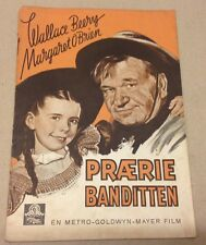 """Bad Bascomb"" Wallace Beery Margaret O'Brien Danish Vtg Original Movie Program"