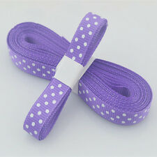 "5yds 3/8""(10 mm) Purple Christmas Ribbon Printed lovely dots Grosgrain Ribbon#"