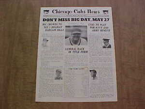 Vintage May 25, 1942 Chicago Cubs Newsletter