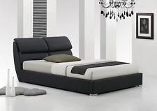 Modern Bed Frame Double Size PU Leather Large Headboard Black Bedstead Furniture