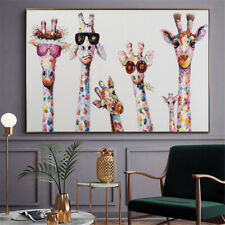 Animals Art Print on Canvas Colorful Giraffes Home Wall Decor Oil Painting 24x42