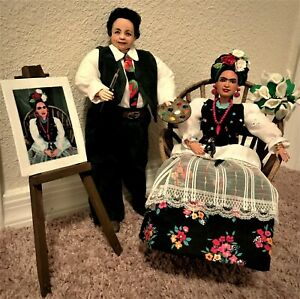 Frida Kahlo and Diego Rivera repaint dolls by Artist, Lois F. Rivera