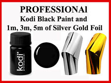Kodi Professional Black Gel Paint Nail Art Transfer Silver Gold Foil Sticker