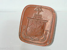 Victorian Intaglio wax Seal Armorial Heraldic Coat Arms Lion Shield Desktop