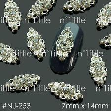 10 PCS Nail Art Silver Rhinestone Alloy Charms Decorations Jewelry #NJ-253
