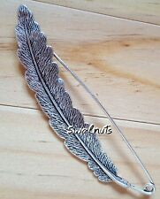 Vintage Safety Pin Silver Feather Textured Metal Brooch Kilt Scarf Shawl