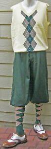 New Men Golf Knickers Green Microfiber  Outfit-KVCTGMFG -Cream Vest & Socks